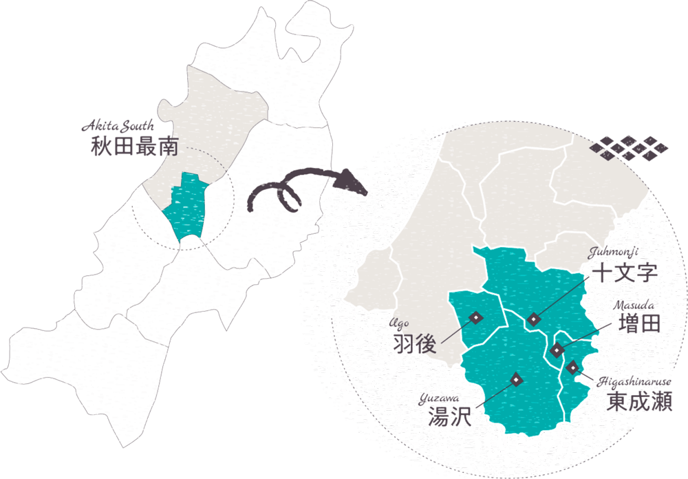 秋田県の地図のイラスト